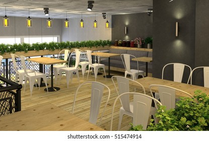 3d visualization of food store with a cafe inside. Public interior in the loft style.