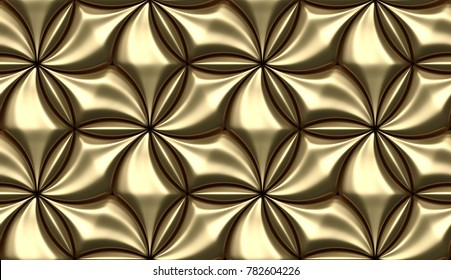 3D wall gold tiles with metallic elemets. Shine geometric modules. High quality seamless 3d illustration.