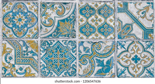 3D wall Tile decor For Interior  Home Decoration, old tile mosaic in oriental style,3D illustration, wallpaper, linoleum, textile, web page background.