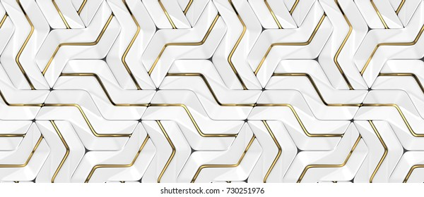 3D wall white panels with gold decor. Shaded geometric modules. High quality seamless 3d illustration.