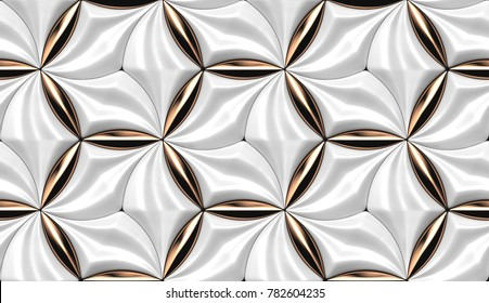 3D wall white tiles with red gold decor. Shaded geometric modules. High quality seamless 3d illustration.
