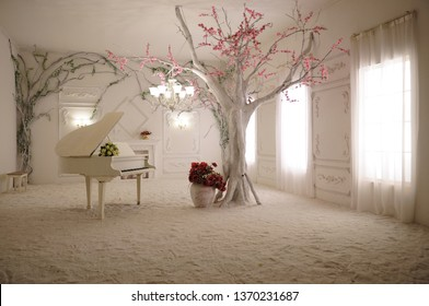 3D wallpaper Beautiful white piano and a large tree with wonderful branches in a beautiful room with luminous windows - Shutterstock ID 1370231687