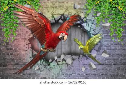 3D wallpaper design for beautiful bird