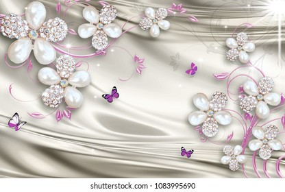 3D Wallpaper Design with jewels