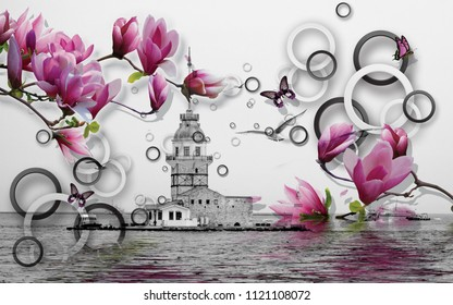 3d Wallpaper design with maiden tower istanbul and geometric circles with florals for photomurals