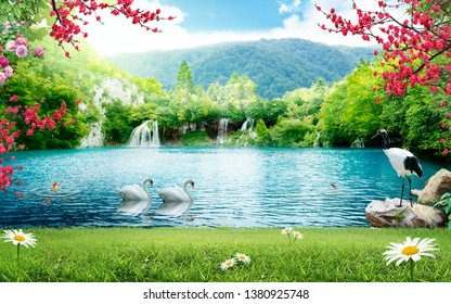 3d wallpaper design waterfall and sea , lake