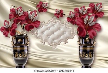 3d wallpaper Red flowers in vase