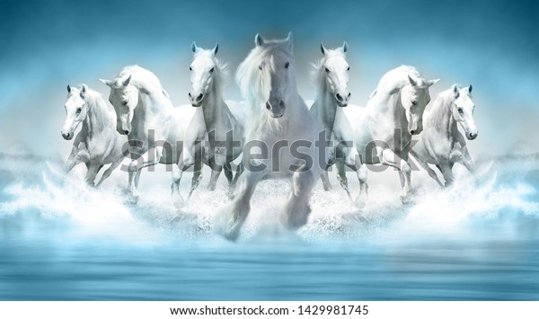 3d Wallpaper Seven Horses Running Stock Photo Edit Now 1429981745