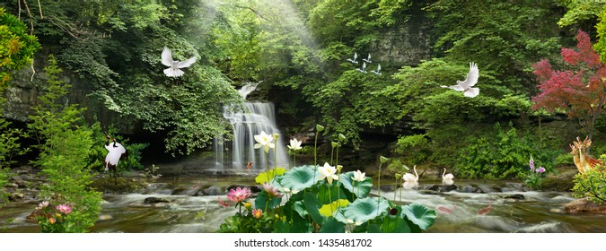 3D waterfalls with colourfull deer,pigeons, swan for wall wallpaper