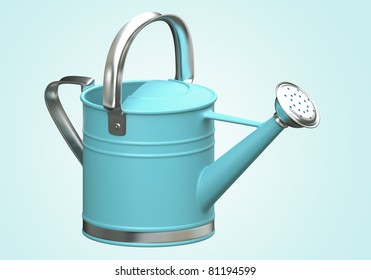 3D watering can blue color on blue background