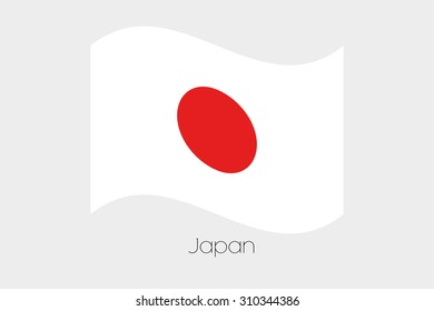 A 3D Waving Flag Illustration of the country of  Japan