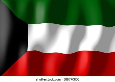 3D waving flag of Kuwait.