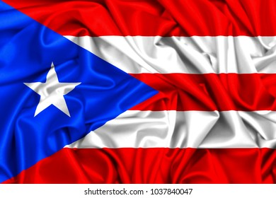 3d waving flag of Puerto Rico, silk texture fabric