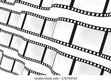 3d: Waving Strips of Film Background