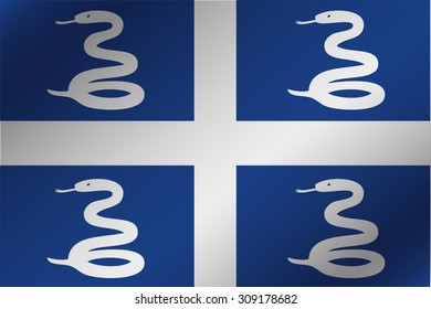 A 3D Wavy Flag Illustration of the country of  Martinique
