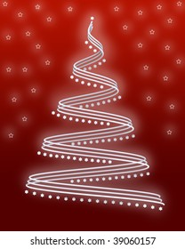3d white abstract christmas tree with white stars