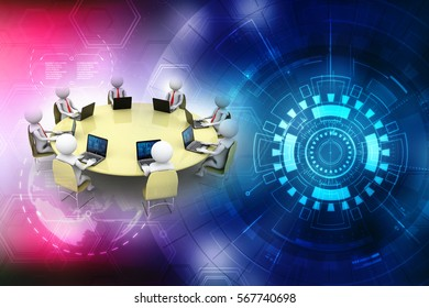 3d white business person in a meeting with computer Isolated white background, 3d rendering