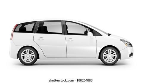 3D White Car