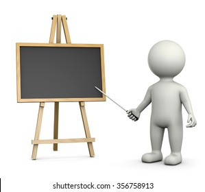 3D White Character Teacher with an Horizontal Empty Blackboard Isolated on White Background 3D Illustration