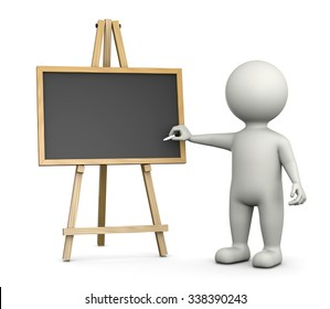 3D White Character Writing with Chalk on an Horizontal Empty Blackboard Isolated on White Background 3D Illustration