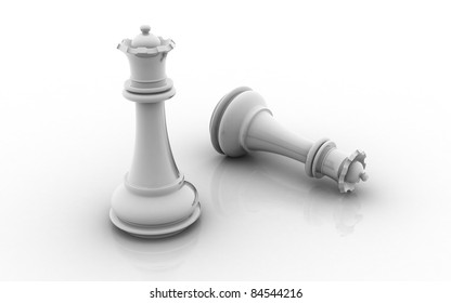 3d white chess queen on white background