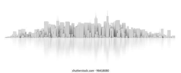 3D white city isolated on mirror background