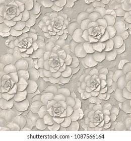 3d, white floral wallpaper, seamless