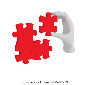 3d white human hand connecting puzzle 3d. White background.