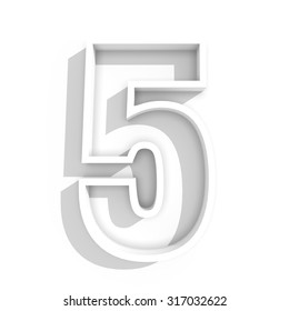 3d white isolated number 5 five in white background with shadow