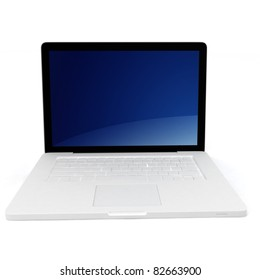 3d white laptop notebook on white background