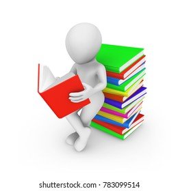 3d white man with colored books reading