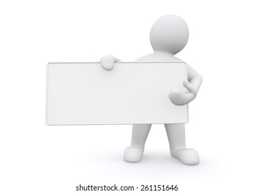 3d white man holding empty board on white background, with clipping path.