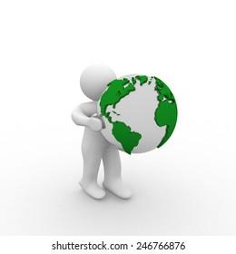 3d white man  holding green globe