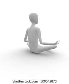 3D white man, meditating in Butterfly pose, isolated white background, 3d image