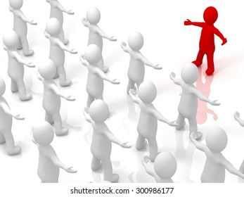 3D white man, person ,people. Leader concept