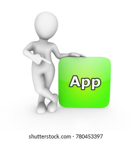 3d white man pointing finger at green mobile application
