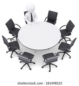 3d white man at the round table. Seven empty chairs. The concept is not complete conference