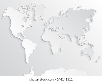 3d white paper world map with shadows/ illustrated background