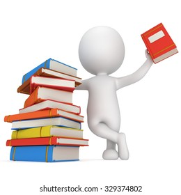 3d white people. Man with piles of books. Isolated white background.