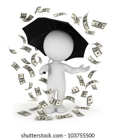 3d white people money rain with an umbrella, isolated white background, 3d image
