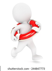 3d white people running lifeguard, isolated white background, 3d image