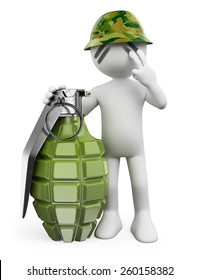 3d white people. Soldier with a hand grenade. Guerrilla. Isolated white background.