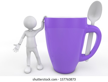 3d white people takes a coffee break, isolated white background