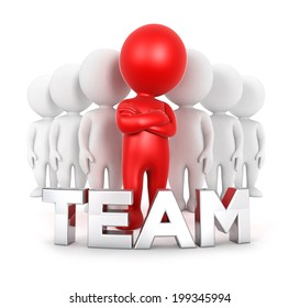 3d white people team with a leader, isolated white background, 3d image