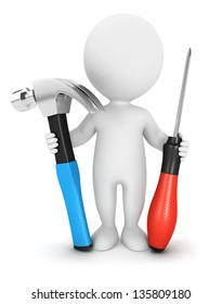 3d white people with tools, isolated white background, 3d image