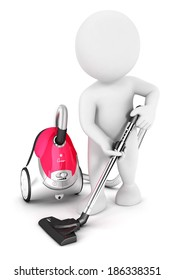 3d white people uses vacuum cleaner, isolated white background, 3d image