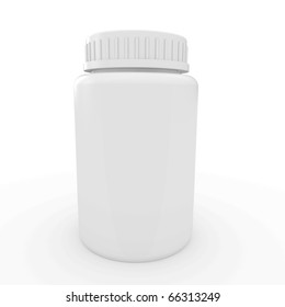 3d white plastic medical container for pills or capsules blank