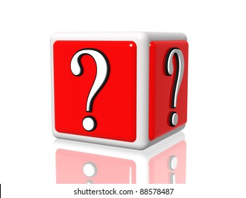 3d white red box with question mark