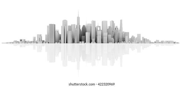 3d white skyline isolated on white with floor reflection