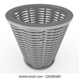3d, wicker basket isolated on white background